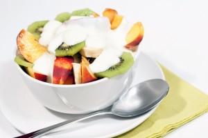 Bowl of fresh fruit and yogurt V1
