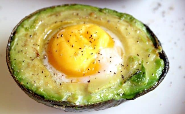 avocado with eggs