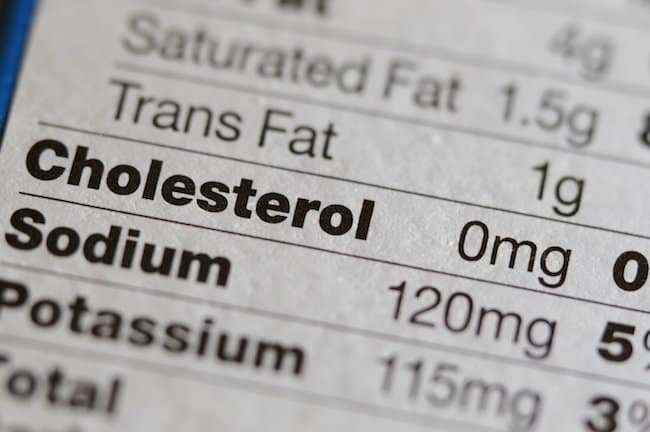 mg of cholesterol per day