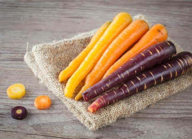 different colour carrots